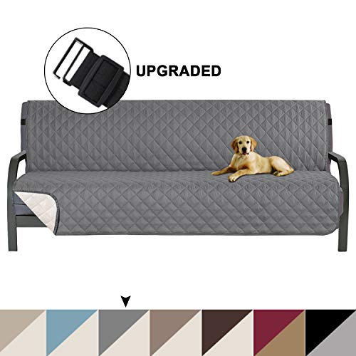 "Turquoize Pet Friendly Reversible Furniture Sofa Futon Protector, Seat Width to 70"" Sofa Covers for Living Room, Couch Covers for 3 Cushion Futon for Dogs Cover,Furniture Protector, Futon, Gray/Beige"