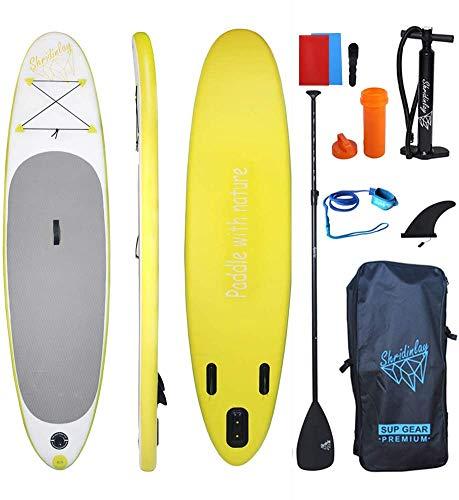 Shridinlay SUP Stand Up Paddle Board 305 × 71 × 12 cm con pala ajustable, aleta, correa, bomba de mano, mochila y kit de reparación (amarillo)