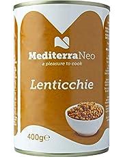 MediterraNeo - Lentejas cocidas en lata, 400 g (paquete de 6)