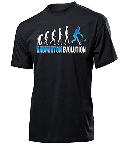Badminton Evolution Geburtstag Geschenk Herren Männer t Shirt Tshirt t-Shirt Federball zubehör Bekleidung Oberteil Hemd Kleidung Outfit Spruch Fun witzig Artikel