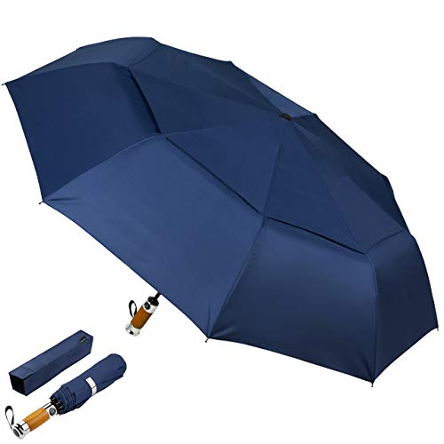 Beran Folding Paraplu Blauw auto Open Sluiten Dubbele Wind Resistant Luifel Staal Glasvezel Geribbeld