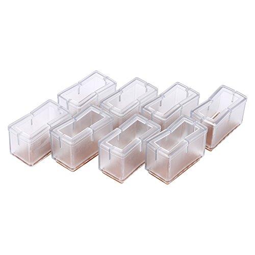Stuhlbeinkappen Füße Pads Bodenschutz Fußkappen Rechteck Schutzkappen für Stuhlbein Tischbein Möbel Beine 8 Stücke (Trasparent)