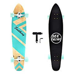 42-inch Longboard Skateboard designed for cruising, made of high-quality Canadian maple. Suitable weight and lighter weight makes freestyle slalom easier and dancing more stable. Sturdy and Stable--Super durable deck is made of high-quality Canadian ...