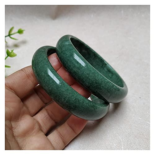 China Natural Oscuro Verde Mano Tallado Ancho Jade Pulsera Boutique Joyería Y Mujer Guizhou Jade Pulsera Jade Pulsera Regalo Espíritu Malvado Dinero Dibujo Riqueza Fortuna (Gem Color : 62-64)