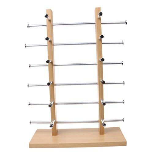 Holz Brillenständer Brillenhalter Brillengestell Ständer Sonnenbrillenständer 2-Row Silber - 6-Schicht