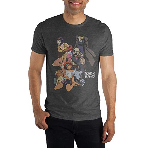 Cowboy Bebop Group Logo with Detailed Illustration Charcoal T Shirt (XX-Large)