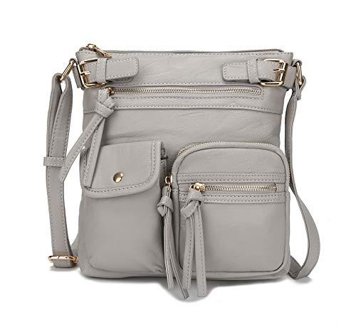 Bolsa tiracolo MKF para mulheres: bolsa de couro vegano, bolsa de ombro, bolsa de mão macia, bolsa feminina, Light Grey Jamie, Medium