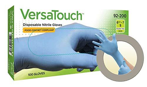 Ansell VersaTouch 92-200 Nitrilo Guante contra productos químicos, Azul, Tamaño 7.5-8 (100 Guantes)