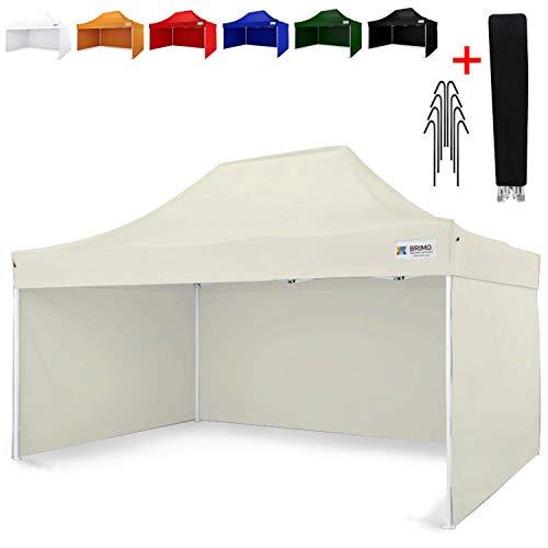Party zelt Exclusive BRIMO ® Komplett 3 volle Wände + 8 Verankerungsdübel und Schutzhülse Gratis! (3x4,5m, Beige)