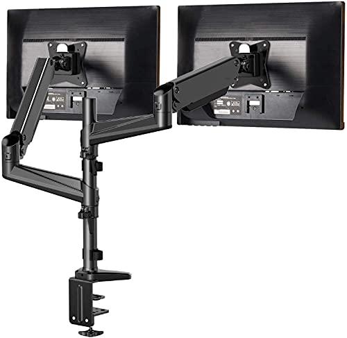 Soporte Dual de Monitor de Aluminio HUANUO para Pantallas de 13-32 '', Altura Ajustable, Brazo Giratorio 360°de Resorte de Gas, Dos Métodos Opcionales de Montaje, Soporte VESA 75-100 mm y Peso 1-8 kg