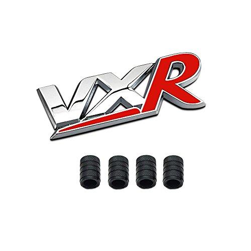 Dsycar 3D Metall VXR Logo Auto Abzeichen Emblem Aufkleber + 4 Stücke Rändelte Stil Mit Kunststoffkern Ventilkappen für Universal Car Styling Dekorative Zubehör