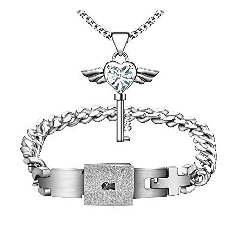 Sissi jewelry Schmuck Edelstahl Functional Lock & Key Halskette und Armband Set Pärchen Armband Verliebte Paar Partner Armreifen für Sie und Ihn(Weiß-Anhänger)