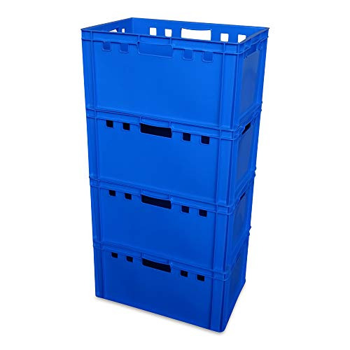 4er Set E3-Kiste Eurobox Metzgerkiste Lagerbox 60x40x30 cm stabil für Lebensmittel geeignet (blau)