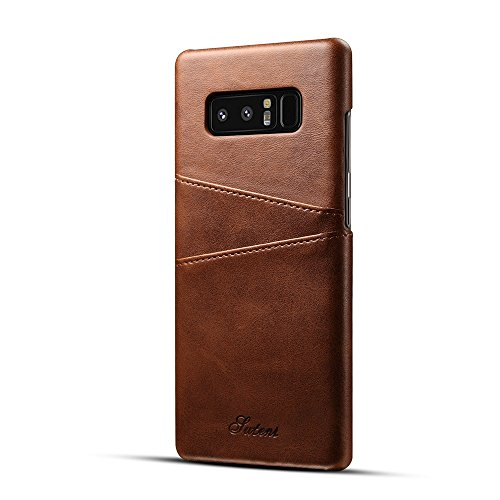 Samsung Galaxy Note 8 Case ,TACOO Soft Pu Leather Slim Fit Protective Durable Fashion Two Card Slots Brown Phone Cover for Samsung Galaxy Note 8 2017