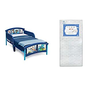 crib bedding and baby bedding delta children plastic toddler bed, disney/pixar toy story 4 + delta children twinkle galaxy dual sided recycled fiber core toddler mattress (bundle)