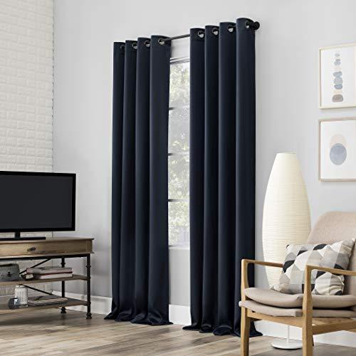 "Sun Zero Nordic 2-pack Theater Grade Extreme 100% Blackout Grommet Curtain Panel Pair, 52"" x 63"", Navy Blue"