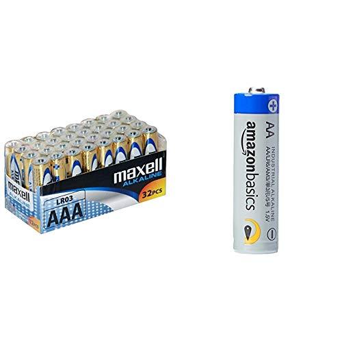 Maxell LR03 - Batterie alcaline ministilo AAA, pacco scorta da 32 & Amazon Basics Batterie industriali alcaline AA, confezione da 40