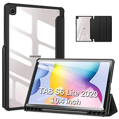 DUZZONA Hülle für Samsung Galaxy Tab S6 Lite 10.4 2020 mit S Stifthalter,Ultra Dünn Smart Cover mit transparenter Rückseite Abdeckung,für Galaxy Tab S6 Lite 10.4 Zoll (SM-P615/P610) Tablet,Schwarz