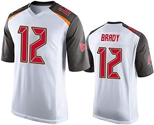 MMW - Camiseta de rugby de Tom Brady # 12 Tampa Bay Buccaneers fútbol Jersey unisex de manga corta, transpirable, el mejor regalo, blanco, XL(185cm~190cm)