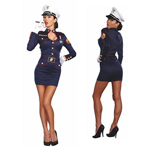 Kostüm Marine Offizierin Kleid Mütze Fasching Admiral Matrosin Seefahrerin (L)