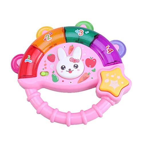 Schlagzeuginstrument Baby Rassel Spielzeug Baby Hand Tamburin Musik Licht Pat Drum Spielzeug for Kleinkinder Kinder (Pink) zum Lehren und...