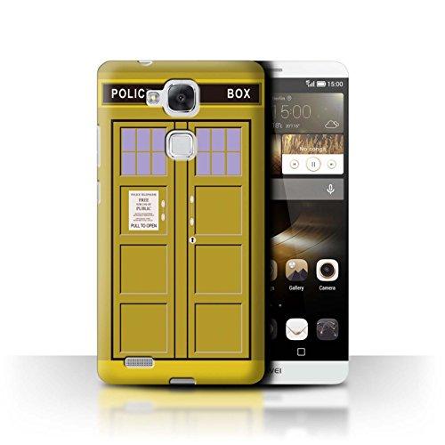 Hülle Für Huawei Ascend Mate7 Tardis Handyzelle Kunst Gelb Design Transparent Ultra Dünn Klar Hart Schutz Handyhülle Hülle