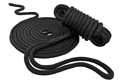 KnocKnock Double Braided Dock Lines ⅜ inch X 15 Feet | 100% Nylon Marine Boat Rope Dockline with Spliced 12inch Eyelet for Boat, Yacht Mooring | Black 2 Pack