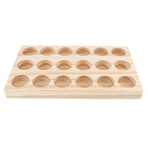 ZQO Tablett für ätherische Öle, 18 Löcher, handgefertigt, natürliches Kiefernholz, für ätherische Öle, Flaschen, Ständer, multifunktionale Nagellackregale für Schreibtisch-Aufbewahrung