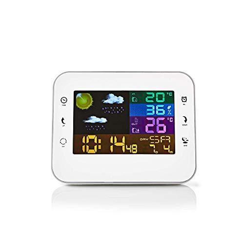 Nedis - Weerstation - Draadloze sensor - Alarmklok - Weersvoorspelling - Temperatuur Binnen/Buiten - Luchtvochtigheid - Display met Tijd en Datum - Touchscreen - Wit/Zilver