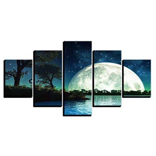Uhgkt Cuadro sobre Lienzo Pintura Poster Frame HD Impreso Wall Art 5 Panel Moon Starry and Nature Landscape Imágenes Modernas