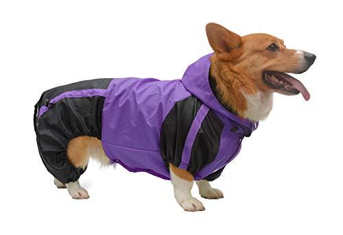 lovelonglong - Chubasquero con capucha para perro galés Corgi con capucha, impermeable, con capucha, transpirable, 4 pies, cuatro patas, para Corgis Dachshund Purple D-M
