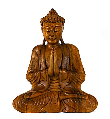 G6 COLLECTION Wooden Serene Sitting Buddha Statue Handmade Meditating Sculpture Figurine Decorative Home Decor Accent Handcrafted Gift Art Wood Hand Carved Oriental Buddha Anjali Mudra (12' Tall)