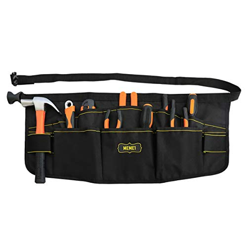 Garden Tool Waist Apron Canvas Gardening Tool Waist Bag with Adjustable Belt Durable and Multifunctional Pouch Design Waist Tool organizer for Man and Woman Black