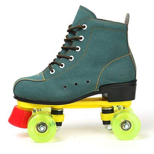 Beginner Inline Skates for Adults, Club Recommendation Outdoor Four-Wheel Roller Skate, Safe and Durable Inline Roller Skates for Man and Women, Sporting Goods Fancy Youth Skates (Green,9)