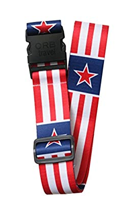 """Orb Travel Premium Designer Luggage Strap Suitcase Strap Luggage Strap/Packing Tape 2?m x 5 cm White/Red/Blue Stars & Stripes 2"""" Wide by 70"""" long"""