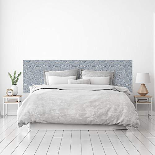 MEGADECOR Cabecero Cama PVC Decorativo Económico Diseño de Olas Estilo Papel Pintado Japonés Varias Medidas (150 cm x 60 cm)