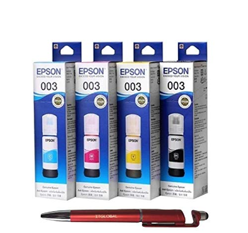 Epson 003 Ink 65ml 4 Colors for (L3100, L3101, L3110, L3150) (Set of 4) Bundle with ITGLOBAL 3 in 1 Multi-Function Anti-Metal Texture Rotating Ballpoint Pen, Creative Mobile Phone Stand, Stylus Pen