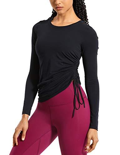 CRZ YOGA Damen Pima Cotton Sport Shirt Langärmliges Rundhalsausschnitt Fitness T-Shirt Gym Top Schwarz 36