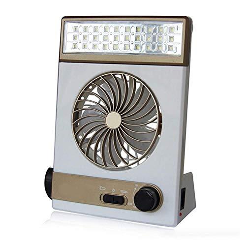 Mini ventilador eléctrico de refrigeración, ventilador multifunción Luz solar para acampar Lámpara LED Linterna Carga USB Portátil Ventilador de viaje para acampar al aire libre Conveniente (Color: