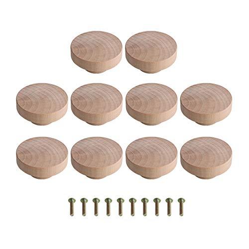 Wohnaccessoire 50x25mm Holzfarbe Superba Wood Hardware Runde Zugknöpfe für Schrank Schublade Schuhkarton Schrank Schranktür Packung mit 10 Stück