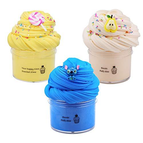 Zestaw 3 masła Slime i charmsów, pachnąca błona chmury, śluza z gruszki, żółta śliwka i niebieski śluz, miękka i nieklejąca, puszysta glina, DIY Sludge Toy Gift