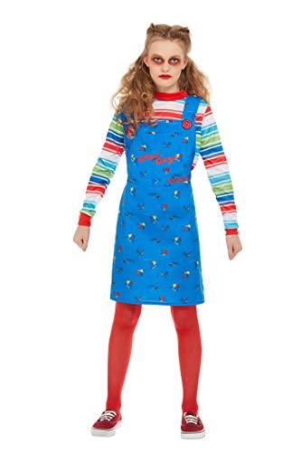 Smiffys 82006S - Disfraz oficial de Chucky, para niñas, color azul, talla S, para niños de 4 a 6 años