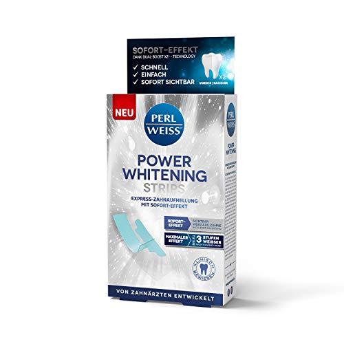 PERLWEISS Power Whitening Strips I Schnell, einfach, sicher, zahnschmelzschonend, mit Sofort-Effekt I Weissere Zähne in nur 5 Tagen I 10 Whitening Strips I patentierte Technologie