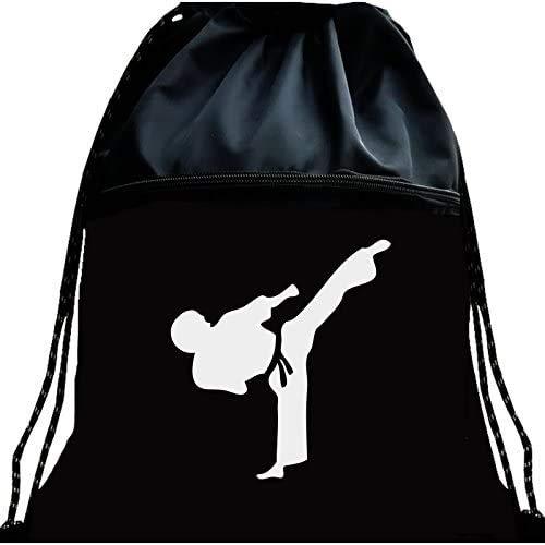 Zhamiao Luminous Taekwondo Gym Drawstring Bags Martial Arts Mesh Bag Portable Fitness Double Shoulder Backpack for Karate (Black)
