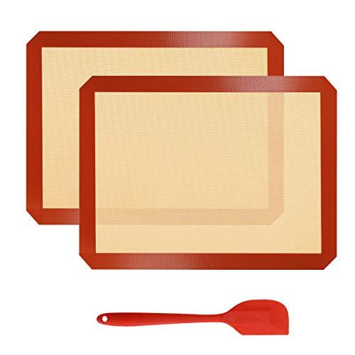 Sooair 2 Tappetini da Forno in Silicone, Tappetino da Torta con Raschietto, Microforato Macarons Antiaderente Resistente al Calore, Facile da Pulire Riutilizzabile Forno a Microonde(Rosso)