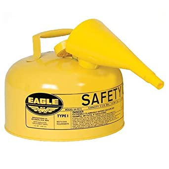 """Eagle UI-20-FSY Type I Metal Safety Can with F-15 Funnel, Diesel, 11-1/4"""" Width x 9-1/2"""" Depth, 2 Gallon Capacity, Yellow: image"""