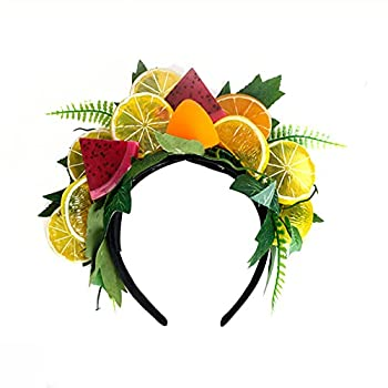 Crazy Night Fruit Headband with Lemon Dragon Fruit Orange,Tropical Fruit Luau Headband Costume Accessory for Halloween,Summer Party or Tropical Themed Party  One Size Multi-Color