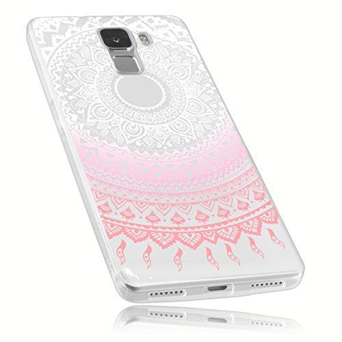 mumbi Hülle kompatibel mit Honor 7 / 7 Premium Handy Case Handyhülle mit Motiv Mandala rosa, transparent
