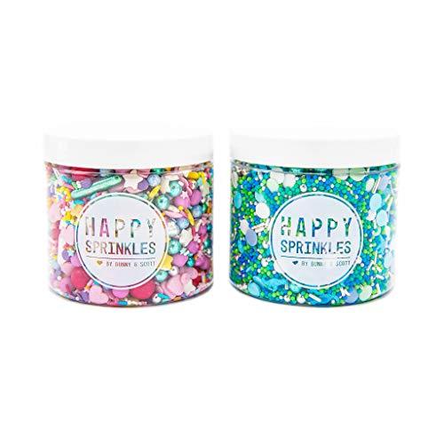 2er Streusel Set bunt | Happy Sprinkles| Zuckerstreusel zum Backen und Verzieren von Torten Kuchen Plätzchen Cupcakes Eis | Dinos, Sterne & Zuckerperlen | Zuckerdekor blau silber grün