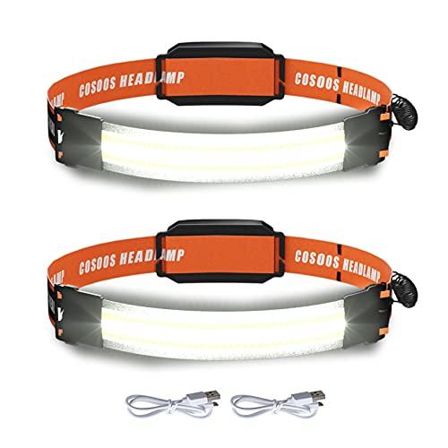 2 Rechargeable Headlamps, COSOOS Bright LED Headlamp Flashlight, Wide Beam, 210° Illumination, 500 Lumen, 3.8oz Lightweight Head Lamp for Camping, Running, Hiking, Hard Hat Headlight